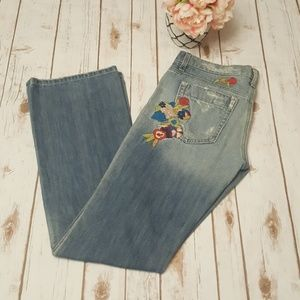 Joe's Embroidered and Distressed Flare Jeans
